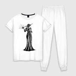 Пижама хлопковая женская Alcina Dimitrescu цвета белый — фото 1