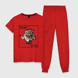 Пижама хлопковая женская Friend of foe? цвета красный — фото 1