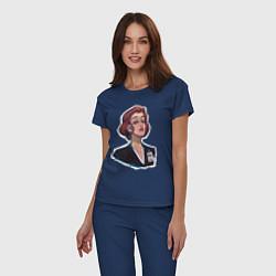 Пижама хлопковая женская Dana FBI цвета тёмно-синий — фото 2