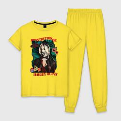 Пижама хлопковая женская Monstruitos De Harley Quinn цвета желтый — фото 1