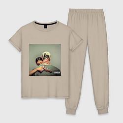 Пижама хлопковая женская Егор Крид PUSSY BOY цвета миндальный — фото 1