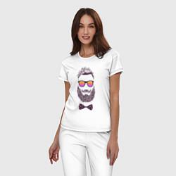 Пижама хлопковая женская Барбер цвета белый — фото 2
