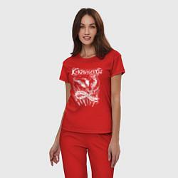 Пижама хлопковая женская Кукрыниксы 15 лет свободы цвета красный — фото 2