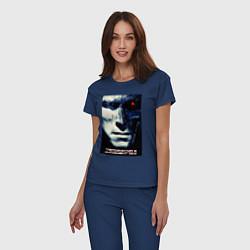 Пижама хлопковая женская Arnold T-800 цвета тёмно-синий — фото 2