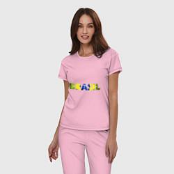 Пижама хлопковая женская BRASIL 2014 цвета светло-розовый — фото 2