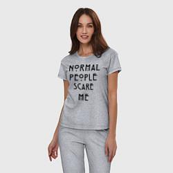 Пижама хлопковая женская Normal people scare me цвета меланж — фото 2