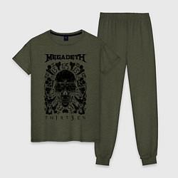 Пижама хлопковая женская Megadeth Thirteen цвета меланж-хаки — фото 1