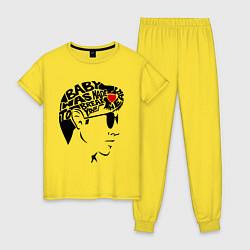 Пижама хлопковая женская Arctic Monkeys Love цвета желтый — фото 1