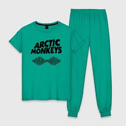 Пижама хлопковая женская Arctic Monkeys цвета зеленый — фото 1