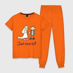 Пижама хлопковая женская Just married цвета оранжевый — фото 1
