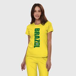 Пижама хлопковая женская Brazil Football цвета желтый — фото 2