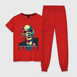 Пижама хлопковая женская Iron Maiden цвета красный — фото 1