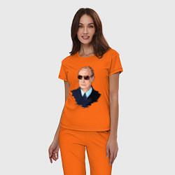 Пижама хлопковая женская Путин в очках цвета оранжевый — фото 2