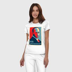 Пижама хлопковая женская Mr.President цвета белый — фото 2