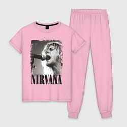 Пижама хлопковая женская Кобейн поет цвета светло-розовый — фото 1