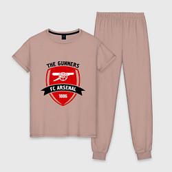 Пижама хлопковая женская FC Arsenal: The Gunners цвета пыльно-розовый — фото 1