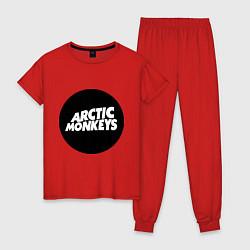 Пижама хлопковая женская Arctic Monkeys Round цвета красный — фото 1