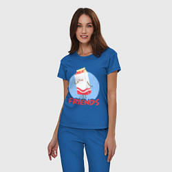 Пижама хлопковая женская Молоко цвета синий — фото 2
