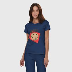 Пижама хлопковая женская Печенька цвета тёмно-синий — фото 2