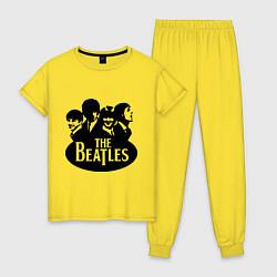 Пижама хлопковая женская The Beatles Band цвета желтый — фото 1