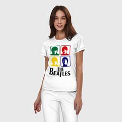 Пижама хлопковая женская The Beatles: Colors цвета белый — фото 2