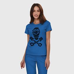 Пижама хлопковая женская Череп мотоциклиста цвета синий — фото 2