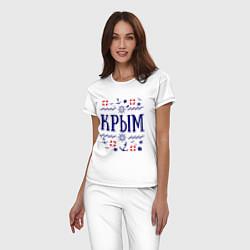 Пижама хлопковая женская Крым цвета белый — фото 2