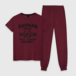 Пижама хлопковая женская BAUMAN University цвета меланж-бордовый — фото 1