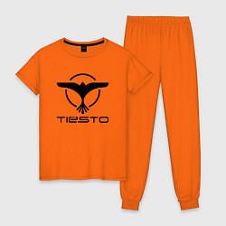 Пижама хлопковая женская Tiesto цвета оранжевый — фото 1