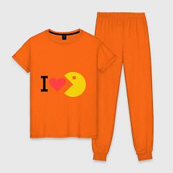 Пижама хлопковая женская I love Packman цвета оранжевый — фото 1