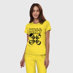 Пижама хлопковая женская Kiss Skulls цвета желтый — фото 2