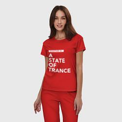 Пижама хлопковая женская Together in A State of Trance цвета красный — фото 2