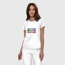 Пижама хлопковая женская Muse Colour цвета белый — фото 2
