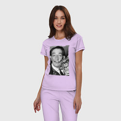 Пижама хлопковая женская Дали с кошкой цвета лаванда — фото 2