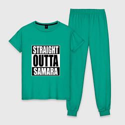 Пижама хлопковая женская Straight Outta Samara цвета зеленый — фото 1