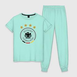 Пижама хлопковая женская Deutscher Fussball-Bund цвета мятный — фото 1