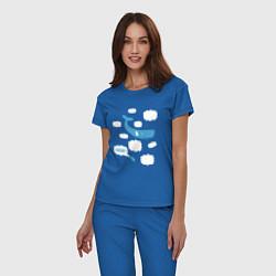 Пижама хлопковая женская Again? цвета синий — фото 2