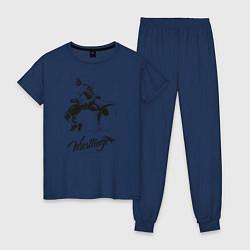 Пижама хлопковая женская Wrestling цвета тёмно-синий — фото 1