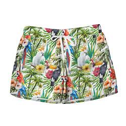 Женские шорты Попугаи в тропиках
