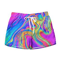 Шорты женские Цветные разводы цвета 3D — фото 1