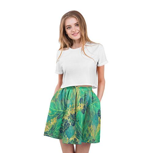 Женская юбка Узор из листьев / 3D – фото 3