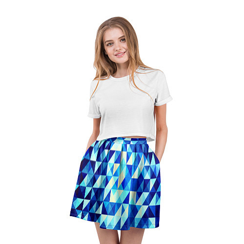 Женская юбка Синяя геометрия / 3D – фото 3