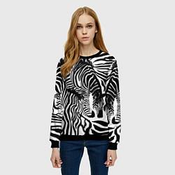 Свитшот женский Полосатая зебра цвета 3D-черный — фото 2