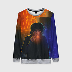 Свитшот женский Виктор Цой в ночи цвета 3D-меланж — фото 1