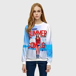 Свитшот женский Summer is coming цвета 3D-белый — фото 2