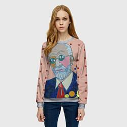 Свитшот женский Зигмунд Фрейд цвета 3D-меланж — фото 2