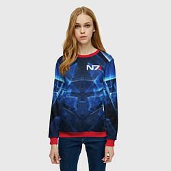 Свитшот женский Mass Effect: Blue Armor N7 цвета 3D-красный — фото 2