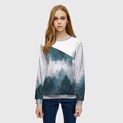 Свитшот женский Высокие горы цвета 3D-меланж — фото 2