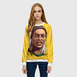 Свитшот женский Ronaldinho Art цвета 3D-белый — фото 2