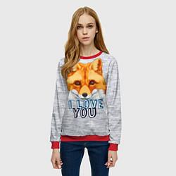 Свитшот женский Милая лисичка! цвета 3D-красный — фото 2